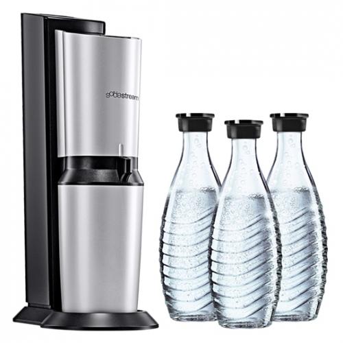 sodastream crystal plus wassersprudler incl 3 glaskaraffen 0 6l co2 zylinder ebay. Black Bedroom Furniture Sets. Home Design Ideas